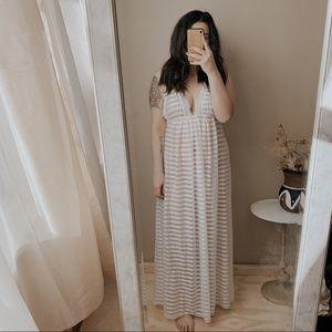 Vintage deep v sheer maxi sexy nightgown